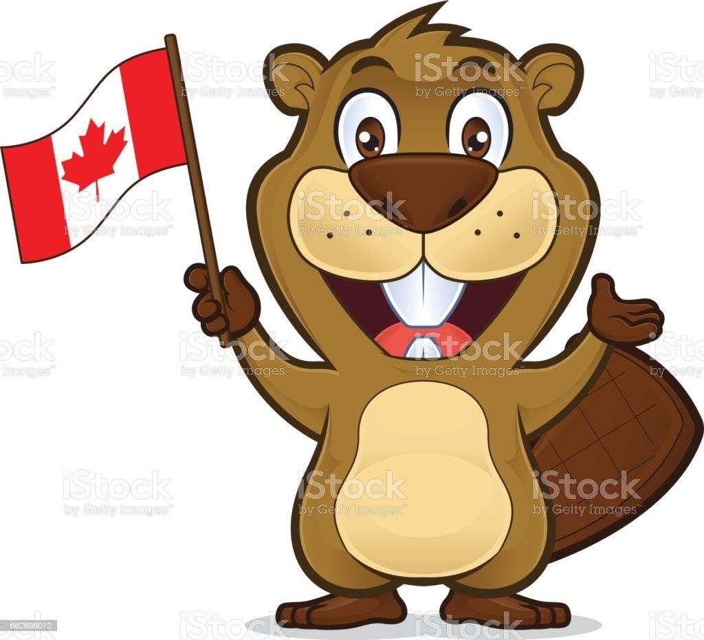 Castor tenant le drapeau canadien - Illustration vectorielle