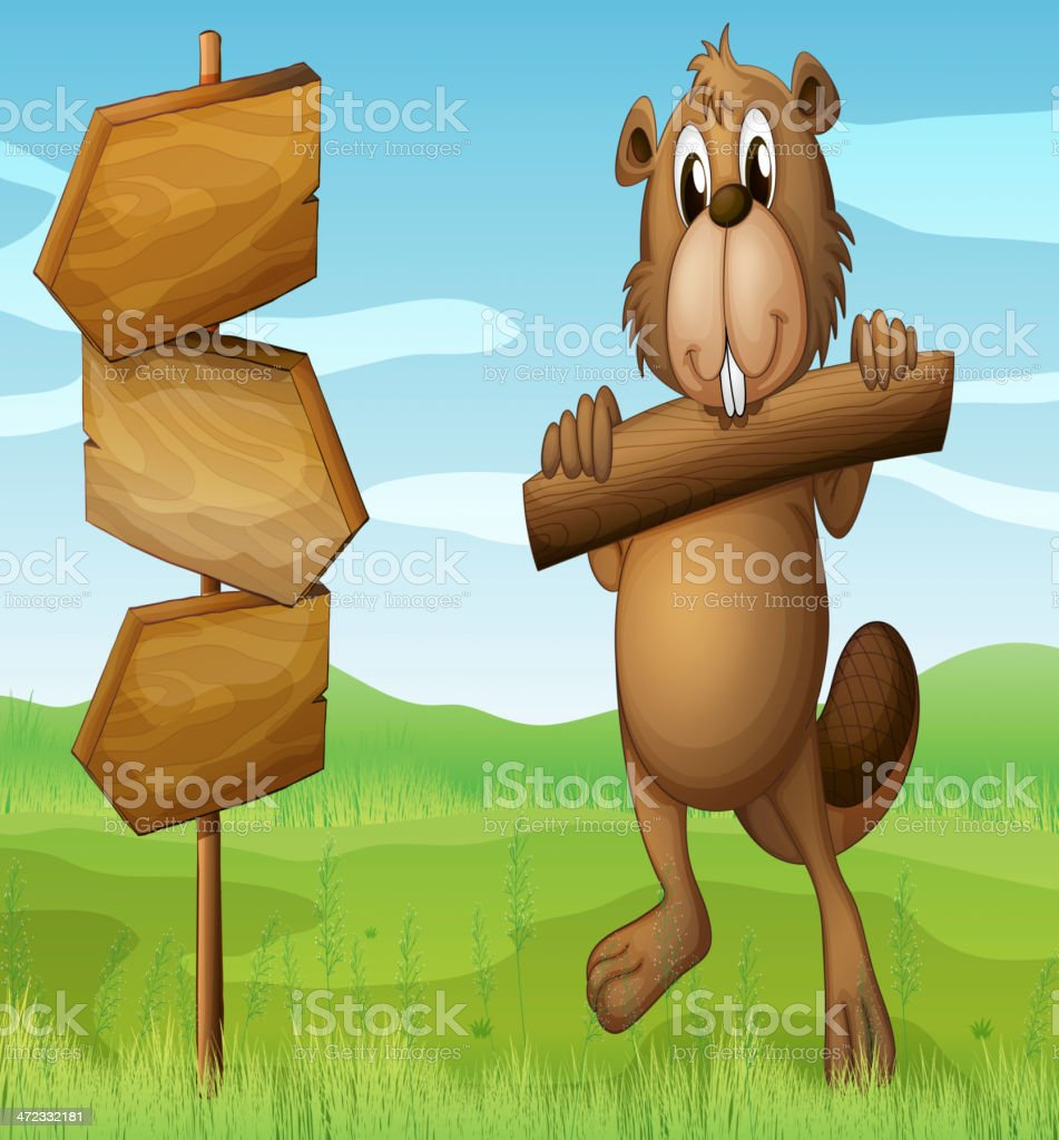 Beaver in the hills with a piece of wood royalty-free stock vector art