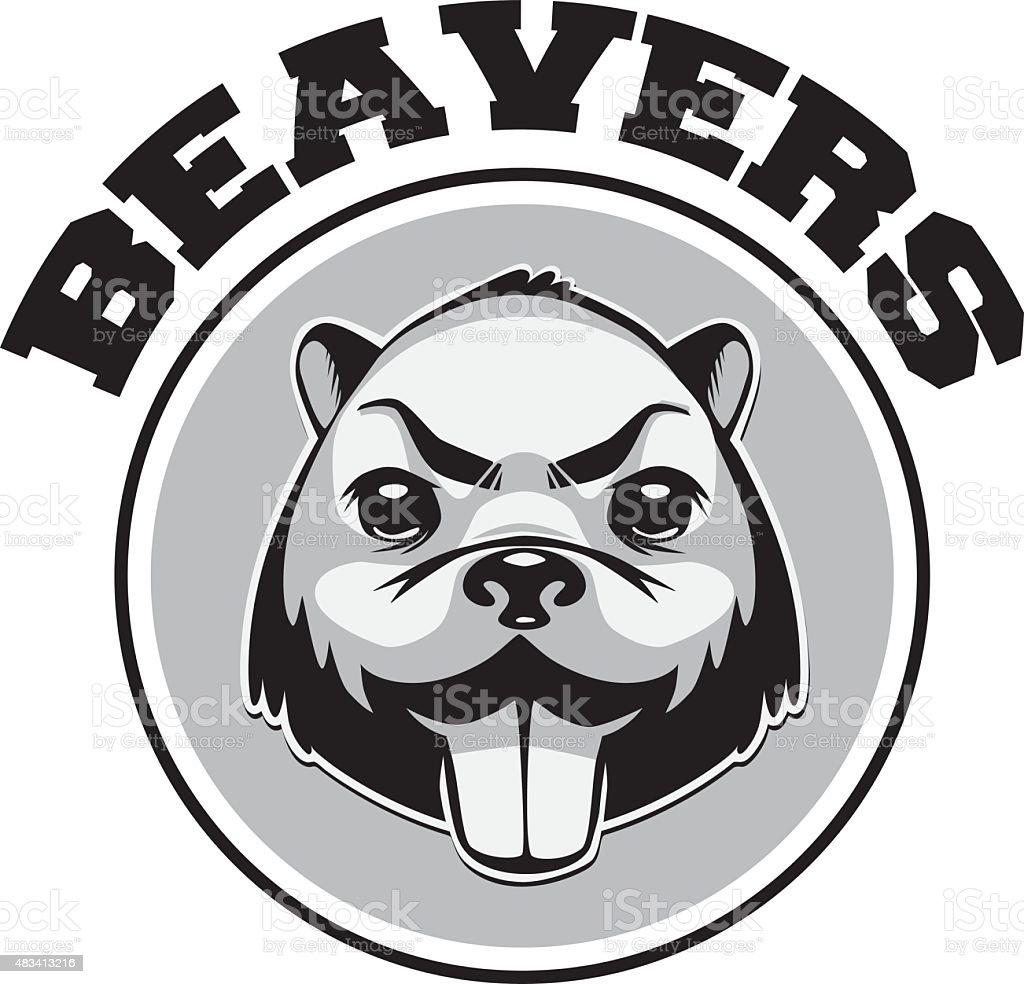 Beaver logo noir et blanc-head - Illustration vectorielle