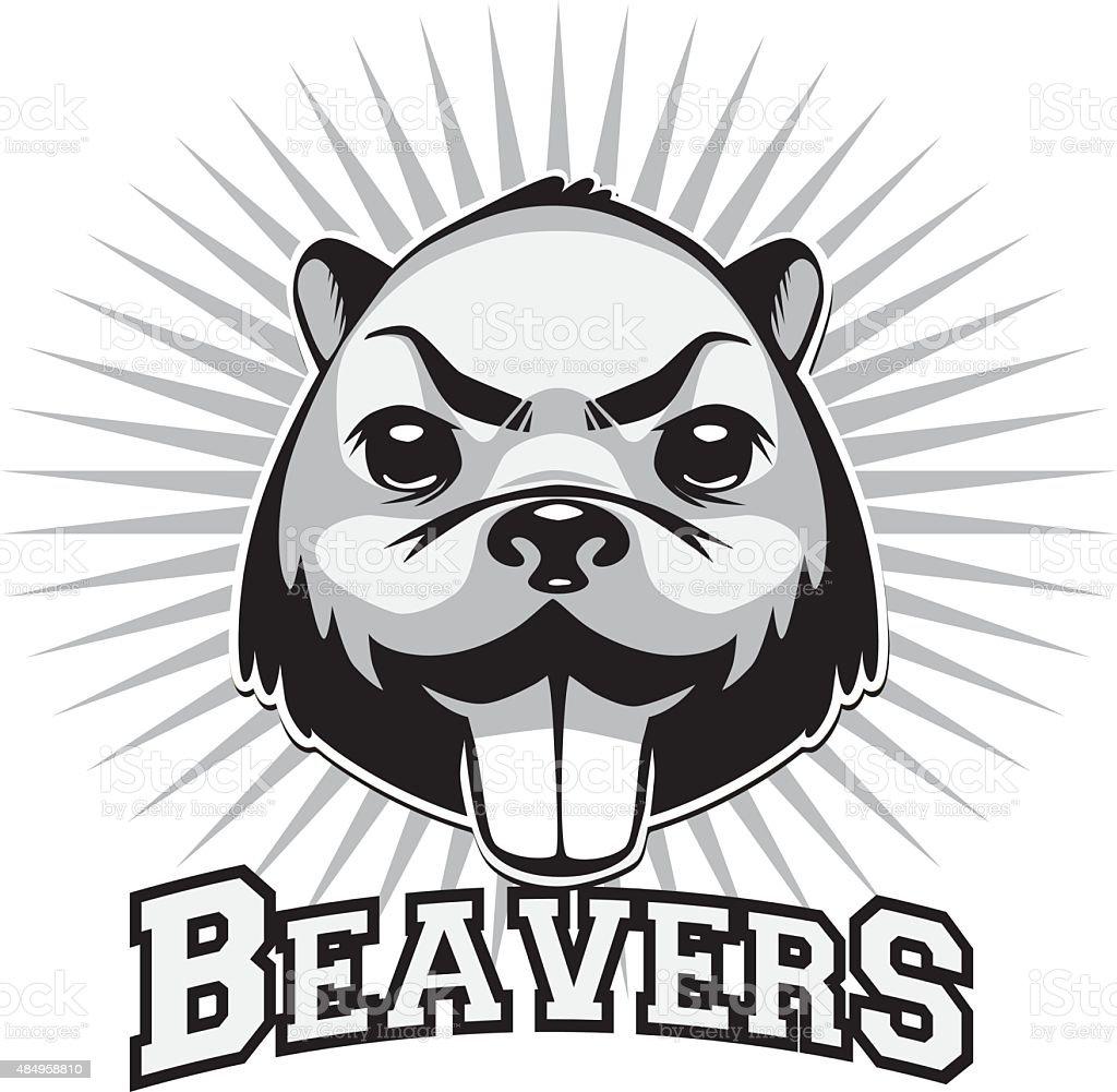 Beaver logo black and white head vector art illustration