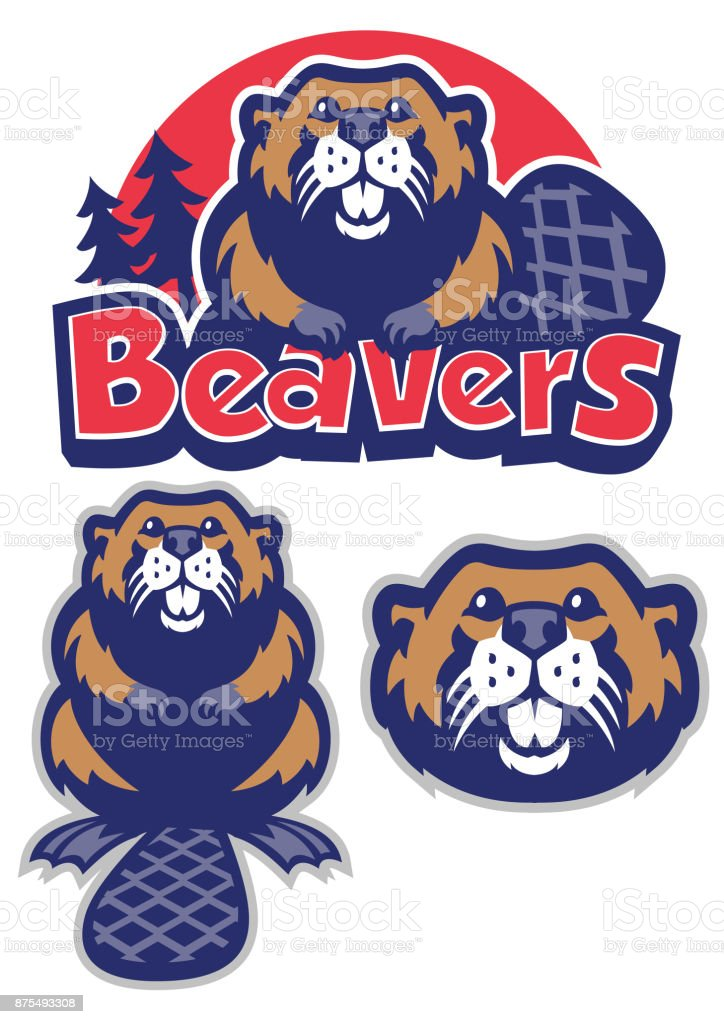 Beaver mascot vector art illustration