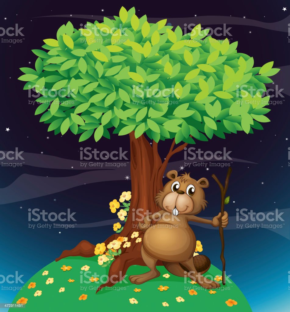 Beaver under a big tree royalty-free stock vector art