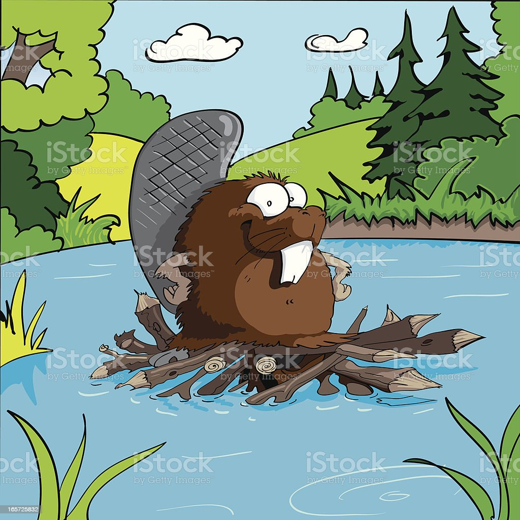Beaver vector art illustration