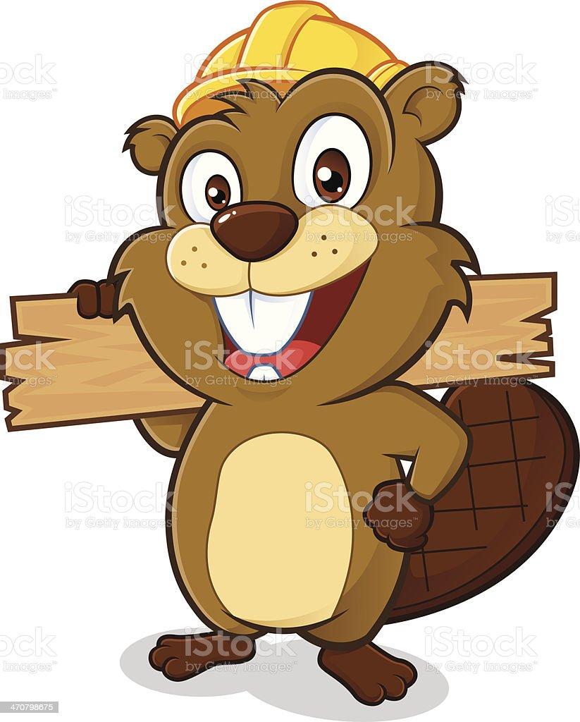 Beaver portant un casque et tenant une planche de bois - Illustration vectorielle