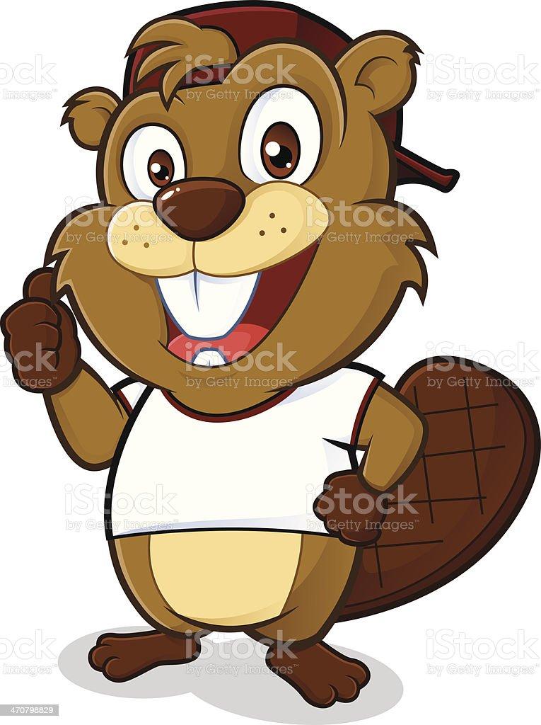 Beaver portant un bonnet et un tee-shirt blanc - Illustration vectorielle