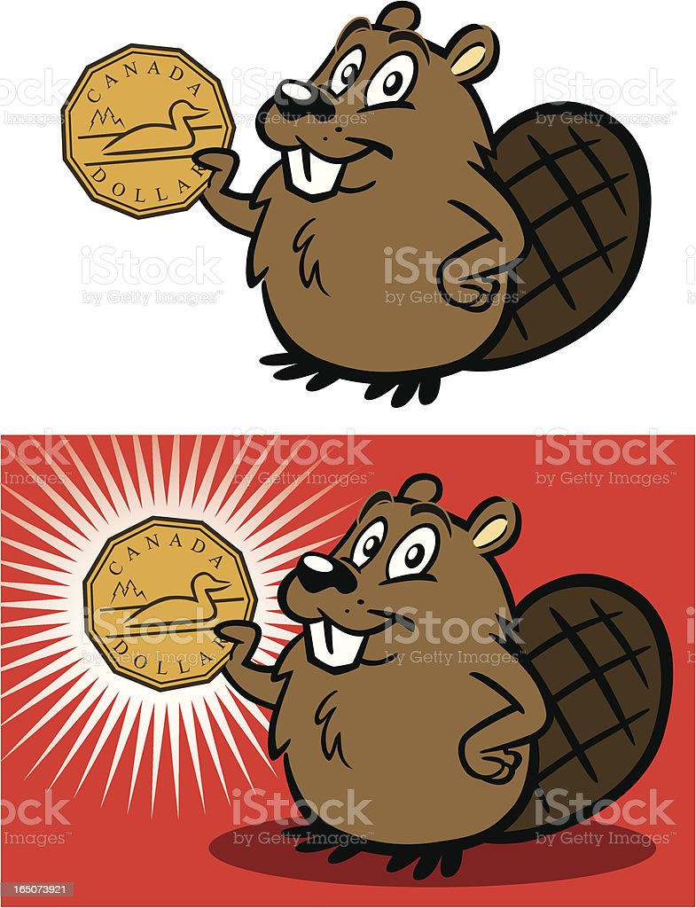 Beaver With Canadian Dollar vector art illustration