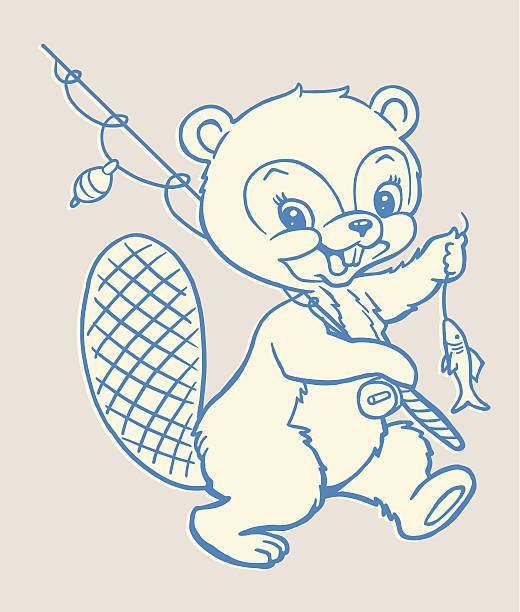 Beaver With Fishing Pole and Fish Beaver With Fishing Pole and Fish kitsch stock illustrations