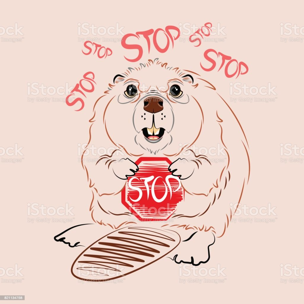 Beaver With Sign Stop Vector Stock Vector Art & More Images of ...