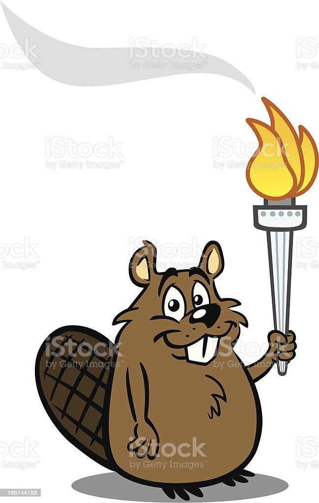 Beaver With Torch vector art illustration