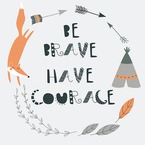 bebravefoxframeorange Vector illustration of cute  fox, laurels and  arrows in cartoon style. 'Be brave, have courage' poster. bedroom borders stock illustrations