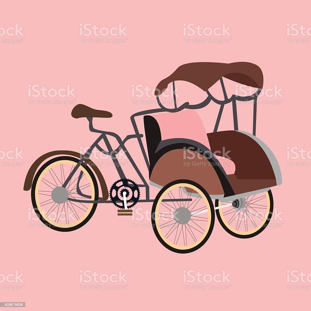 becak rickshaw indonesia jakarta icon flat vector illustration transportation vector art illustration
