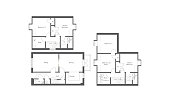 generic apartment floorplans drawn in architect CAD manner as vectors on white