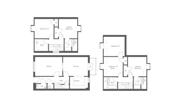 1 bed, 2 bed and 3 bed apartment floorplans generic apartment floorplans drawn in architect CAD manner as vectors on white bathroom designs stock illustrations