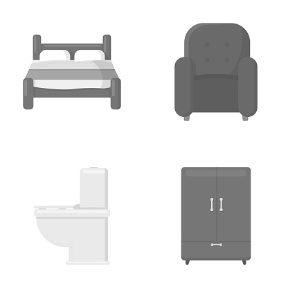 A bed, an armchair, a toilet, a wardrobe.FurnitureFurniture set collection icons in monochrome style vector symbol stock illustration web.