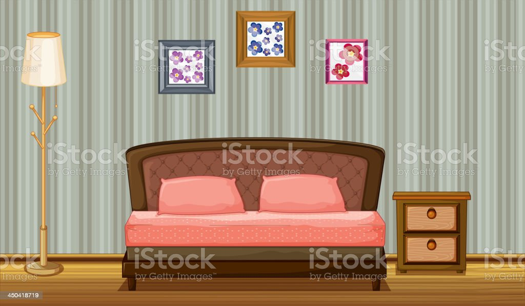 bed and a lamp vector art illustration