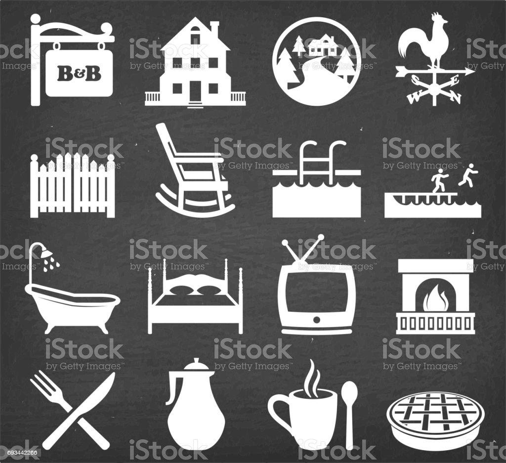 Bed and BreakfastSummer Vacation Icon Set on Black Chalkboard vector art illustration