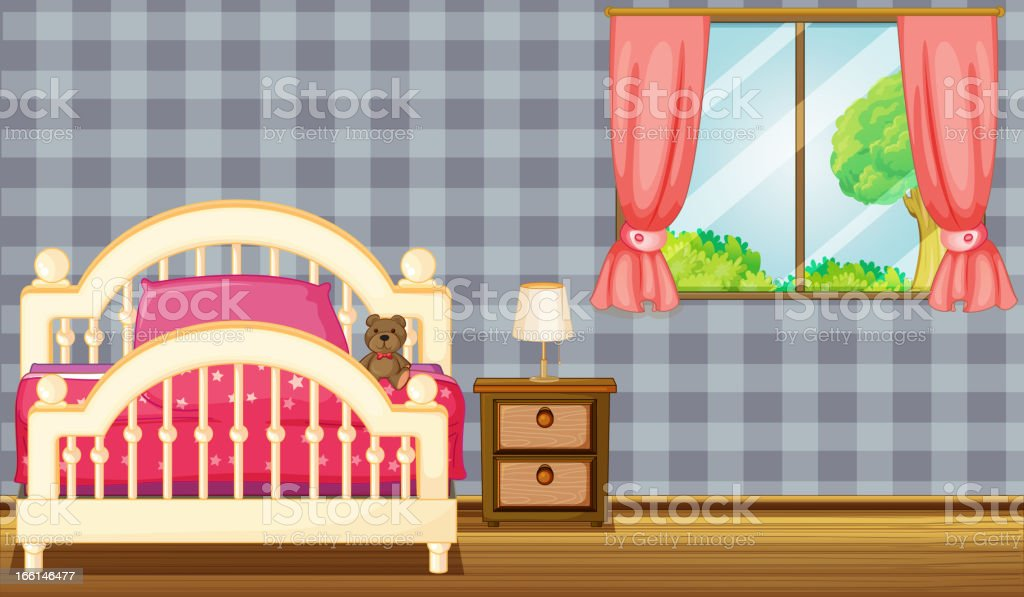 Bed and side table vector art illustration