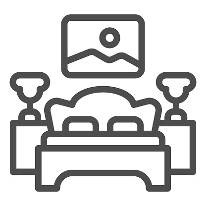Bed, bedside tables with lamps and picture line icon, interior design concept, bedroom sign on white background, room with bed, nightstands, painting icon in outline style. Vector graphics.