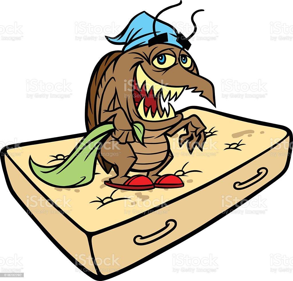 Bug sur un lit - Illustration vectorielle