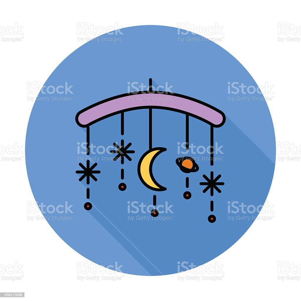 Bed carousel flat icon vector art illustration