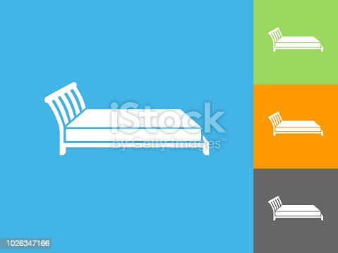 Bed Flat Icon on Blue Background. The icon is depicted on Blue Background. There are three more background color variations included in this file. The icon is rendered in white color and the background is blue.