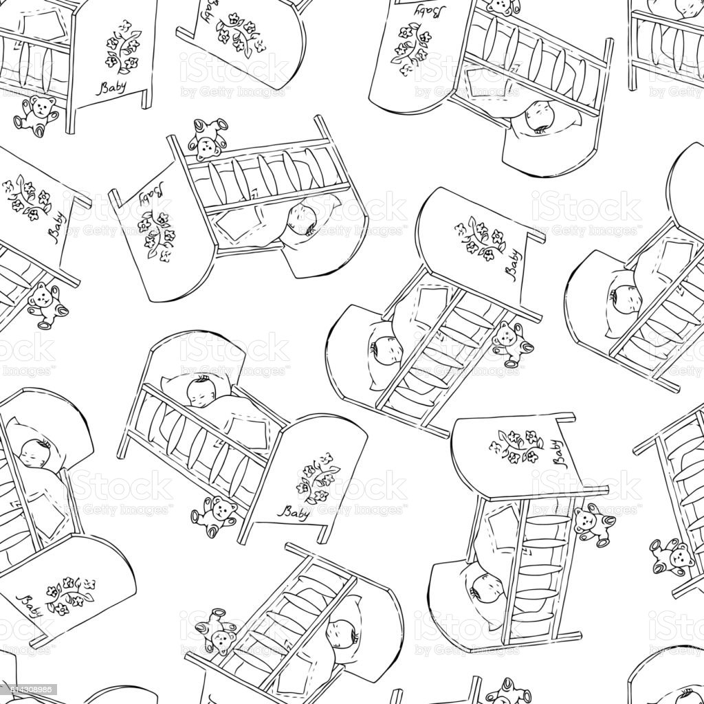 Bed for baby. Monochrome seamless pattern backgrounds. vector art illustration