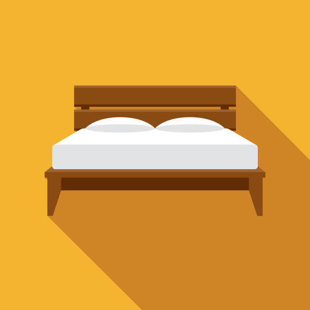 Bed Furniture Icon A flat design furniture icon with a long shadow. File is built in the CMYK color space for optimal printing. Color swatches are global so it's easy to change colors across the document. bedroom clipart stock illustrations