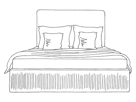 Bed graphic black white isolated furniture sketch illustration vector