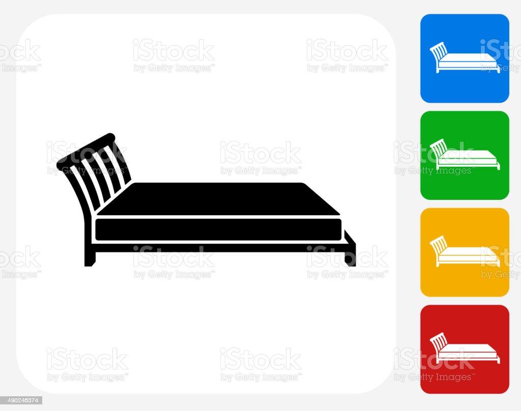 Bed Icon Flat Graphic Design vector art illustration
