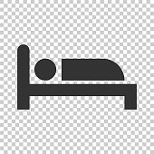 Bed icon in flat style. Sleep bedroom vector illustration on isolated background. Relax sofa business concept.