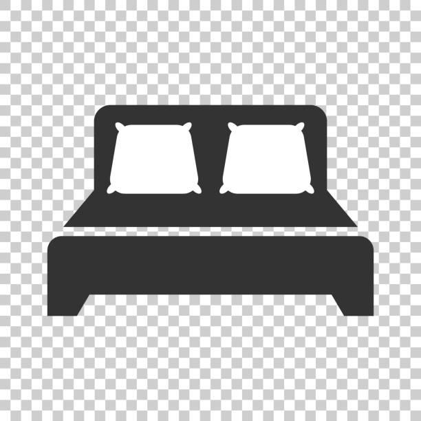 bett-symbol im flachen stil. schlafen sie schlafzimmer-vektor-illustration auf isolierte hintergrund. entspannen sie geschäftskonzept sofa. - funktionssofa stock-grafiken, -clipart, -cartoons und -symbole