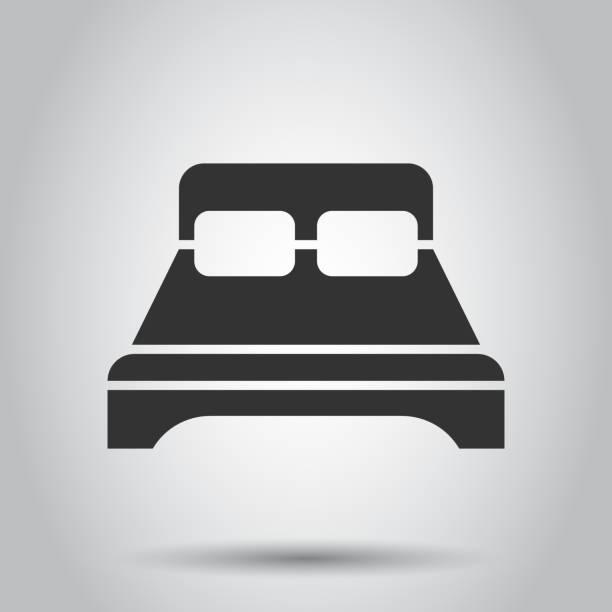 bett-symbol im flachen stil. schlafen sie schlafzimmer-vektor-illustration auf weißem hintergrund. entspannen sie geschäftskonzept sofa. - funktionssofa stock-grafiken, -clipart, -cartoons und -symbole