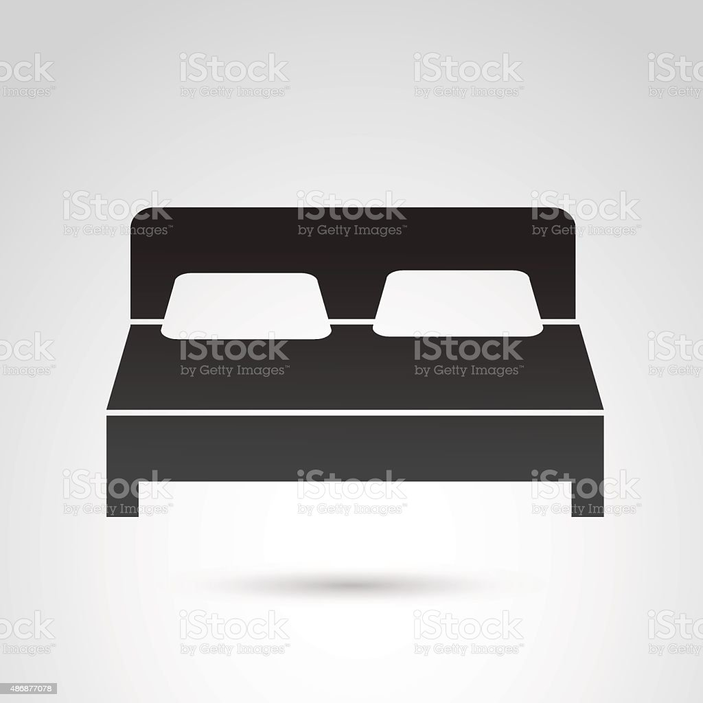 Bed icon isolated on white backgound. vector art illustration