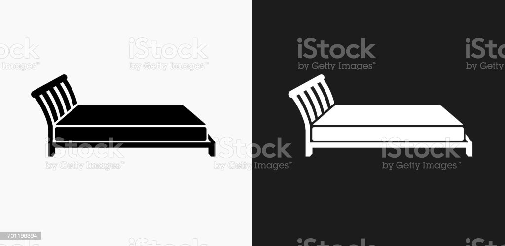 Bed Icon on Black and White Vector Backgrounds vector art illustration