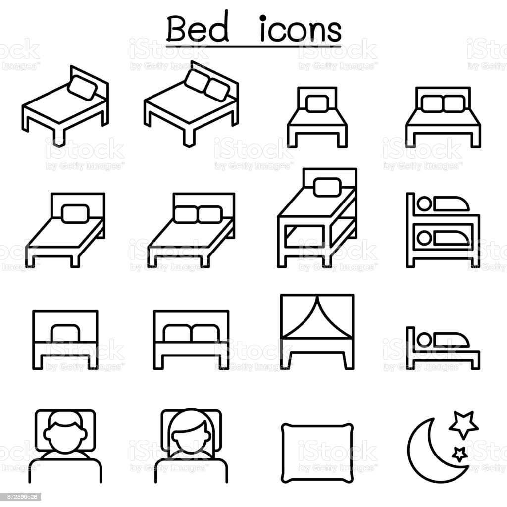 Bed icon set in thin line style vector art illustration