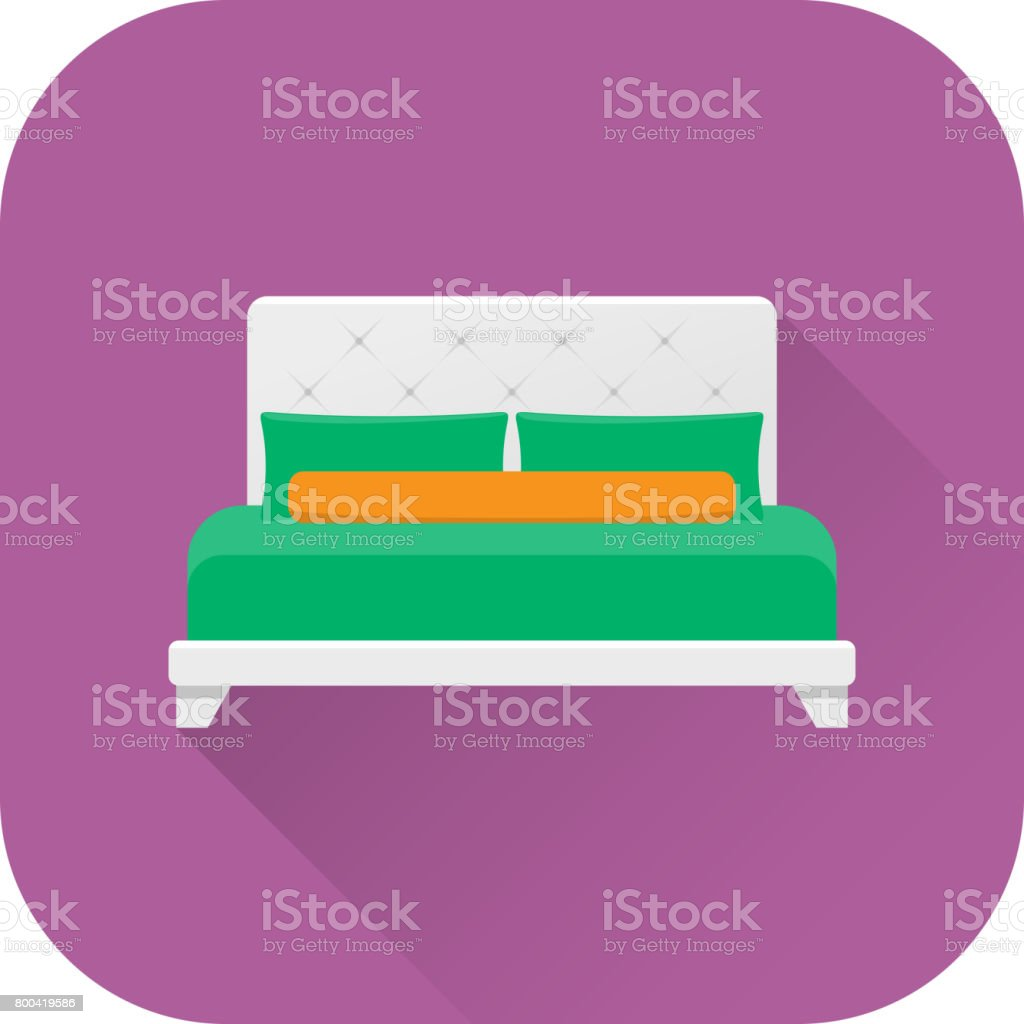 Bed icon. Vector. Flat design with long shadow. vector art illustration