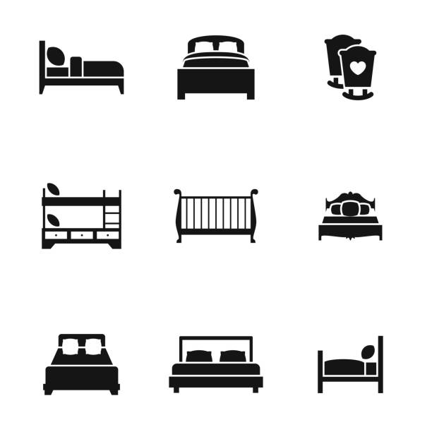 bed icons bed vector icons. Simple illustration set of 9 bed elements, editable icons, can be used in logo, UI and web design bed furniture stock illustrations