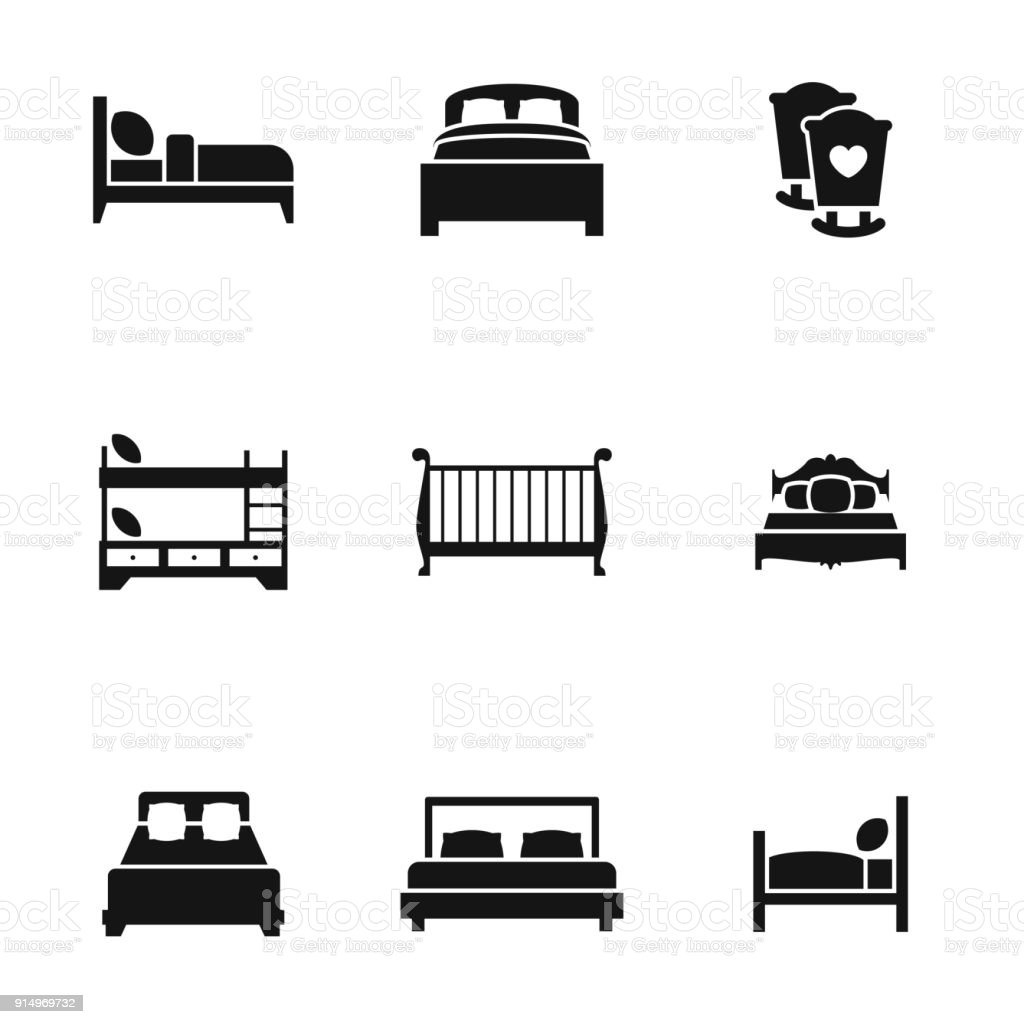 bed icons vector art illustration