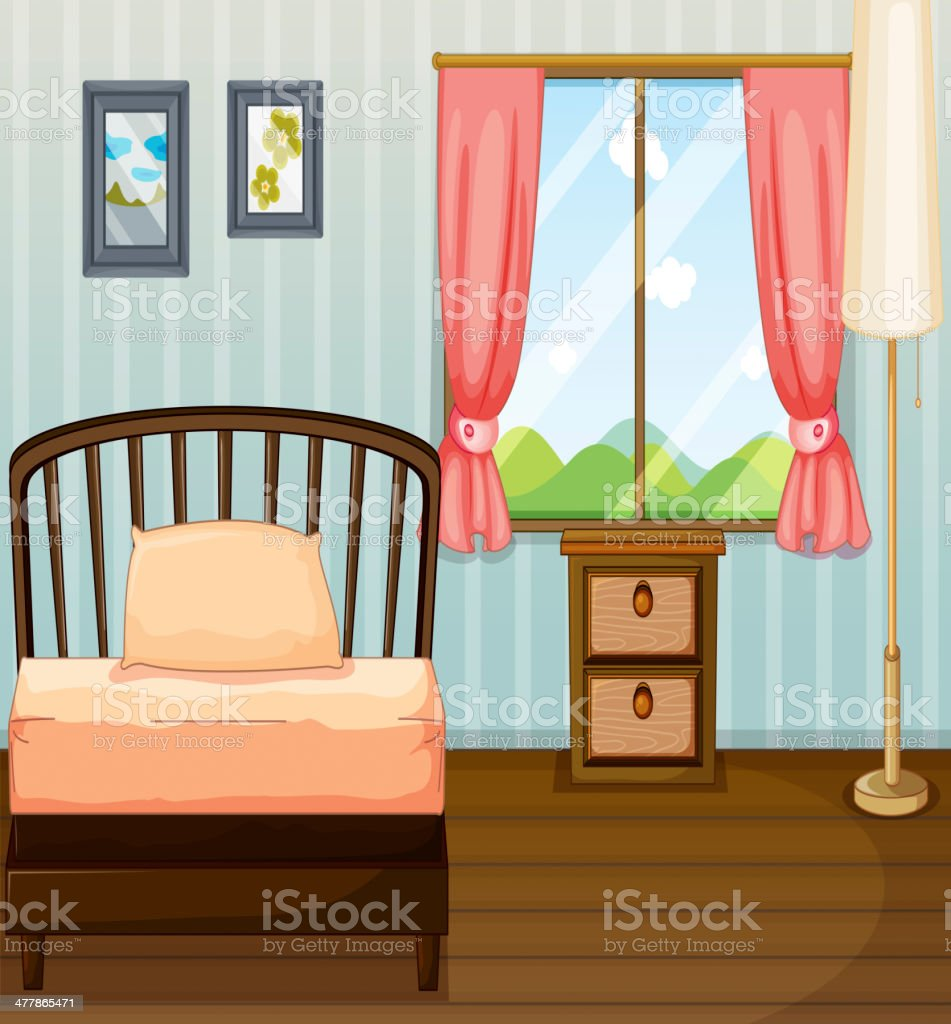 Bed, lamp and a side table royalty-free stock vector art