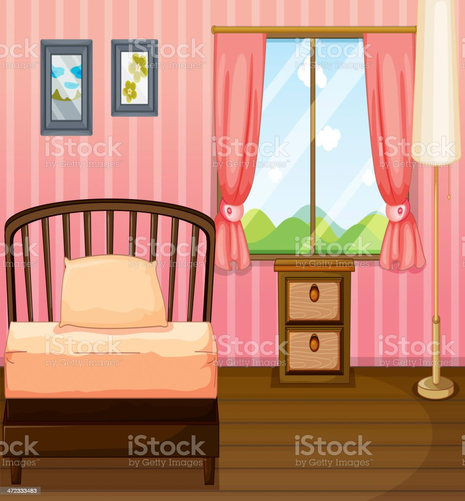 Bed, lamp and side table royalty-free stock vector art