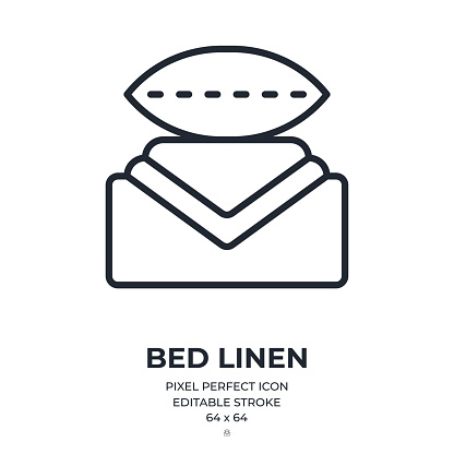 Bed linen set editable stroke outline icon isolated on white background flat vector illustration. Pixel perfect. 64 x 64.