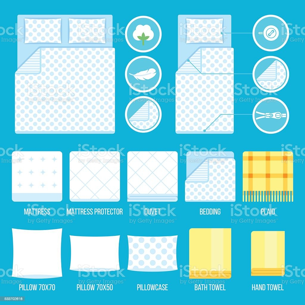Bed linen vector art illustration
