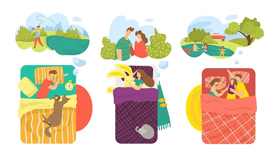 Bed set, night dream in bedroom vector illustration. Man woman flat character sleep with blanket collection, cartoon asleep people see dream.