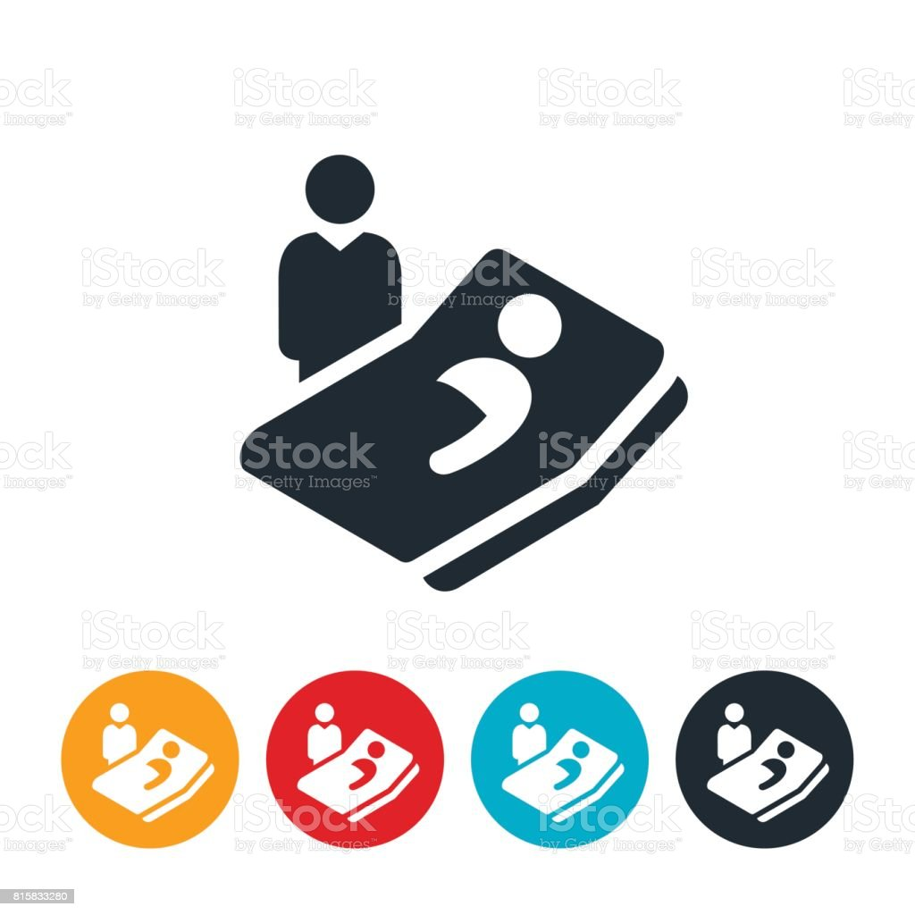 Bed Side Health Care Icon vector art illustration