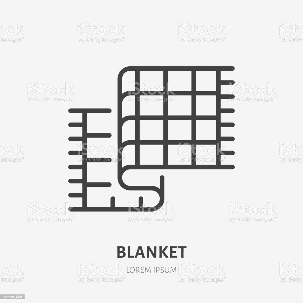 Bedding, bedroom decorations flat line icon. Vector illustration of blanket, plaid. Thin linear logo for interior store vector art illustration
