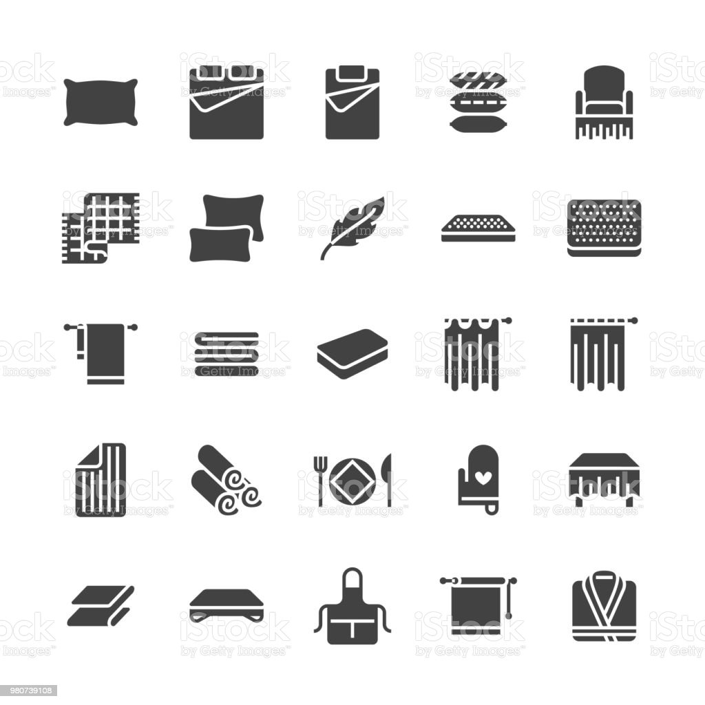 Bedding flat glyph icons. Orthopedics mattresses, bedroom linen, pillows, sheets set, blanket and duvet illustrations. Signs for interior store. Solid silhouette pixel perfect 64x64 vector art illustration