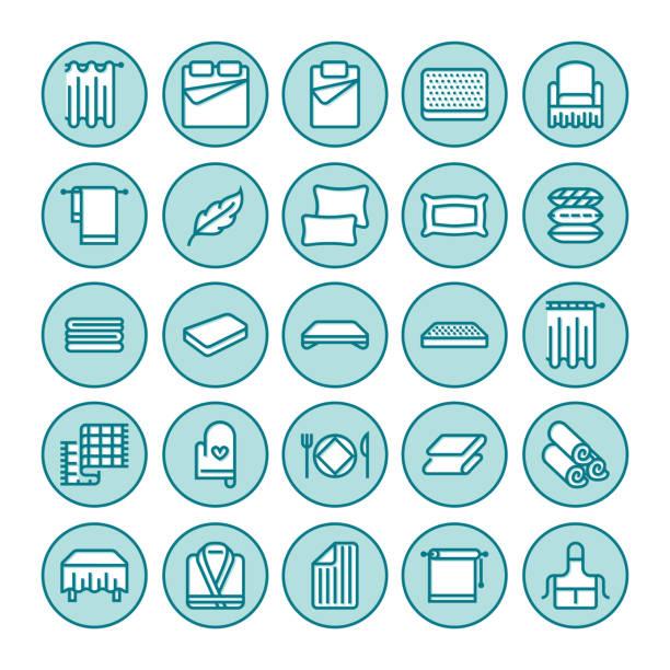 bettwäsche-flache linie symbole. orthopädie-matratzen, bettwäsche, kissen, bettwäsche-set, decke und bettdecke illustrationen. dünne anzeichen für innere store - stuhllehnen stock-grafiken, -clipart, -cartoons und -symbole
