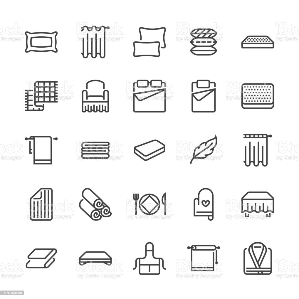 Bedding flat line icons. Orthopedics mattresses, bedroom linen, pillows, sheets set, blanket and duvet illustrations. Thin signs for interior store. Pixel perfect 48x48 vector art illustration
