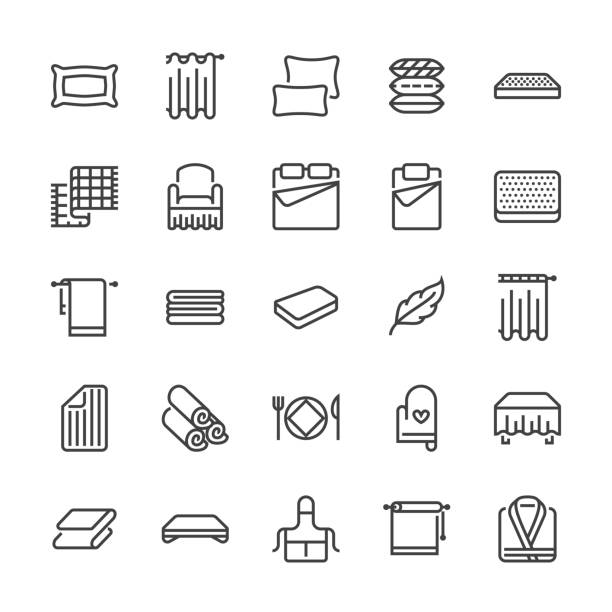 bedding flat line icons. orthopedics mattresses, bedroom linen, pillows, sheets set, blanket and duvet illustrations. thin signs for interior store. pixel perfect 48x48 - miękkość stock illustrations