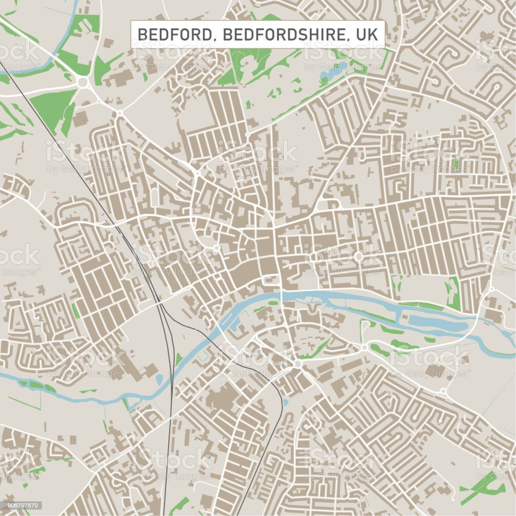 Bedford Bedfordshire UK City Street Map vector art illustration